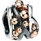 Elements Silver Sterling Silver Multi Ball Detail Bead Rose Gold And Oxidised