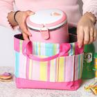 Women Stripe Lunch Bag Outdoor Leisure Picnic Bag Handbag Mummy Bag