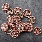 Smykkedel - Mellemdel, fordeler blomst i kobber 10mm, 20 stk