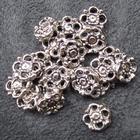 Smykkedel - Mellemdel, fordeler-blomst i sølv 10 mm. 20 stk