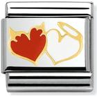 Nomination Composable Classic Link Angel and Devil Hearts Stainless Steel/Gold/Enamel Charm (030253 27)
