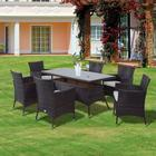 Outsunny Garden Rattan Furniture Cube Dining Table 6 Chairs Brown