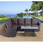 Outsunny 5pcs Rattan Garden Furniture Sofa Set Patio Outdoor Wicker Dining Chair Table Set