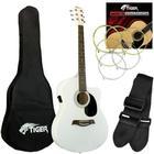 DJM Tiger White Electro Acoustic Guitar Pack