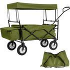TecTake Foldbar trækvogn med tag inkl. taske grøn