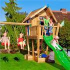 Jungle Gym Crazy Playhouse CXL legetårn med gyngemodul Med grøn rutsjebane, sandkasse, legehus og gyngestativ