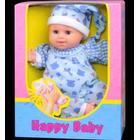 HAPPY BABY grinedukke, Blå med tryk