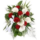 Blumenfee Brautstrauß My Melody - Calla und rote Rosen- online günstig