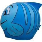 SwimFin Badehætte - Silikone - Blå m. Fisk - OneSize - SwimFin Tilbehør