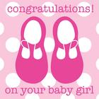 Toby Tiger Baby Shoe Girl Card