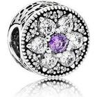 Pandora Forget Me Not Metal/Silver Charm Purple Cubic Zirconia (791832ACZ)