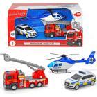 Dickie Toys - SOS Svensk polisbil, brandbil & polishelikopter
