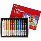 Mungyo oljepastellkritor, tjocklek 10 mm, L: 7 cm, 12 st., mixade färger
