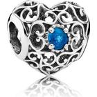 Pandora December Signature Heart Sterling Silver Charm w. Blue Crystal (791784NLB)
