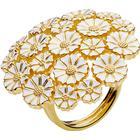 Lund Copenhagen Marguerit Ring, buket i forgyldt med hvid emalje