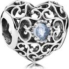 Pandora March Signature Heart Birthstone Sterling Silver Charm w. Blue Crystal (791784NAB)