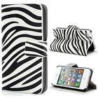 MTP Products iPhone 4 / 4S Pung Læder Taske - Zebra - Sort / Hvid