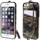 iPhone 6 / 6s Camouflage Læder Cover m. Pung Brun / Sort
