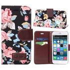 iPhone 6 / 6s Vintage Rose Flower Etui m. Pung Sort