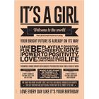 I LOVE MY TYPE plakater og rammer I Love My Type Plakat It's A Girl, Fersken
