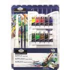 Akrylfärger Set 10 tuber x 5 ml och extra målartillbehör Royal & Langnickel