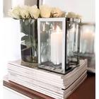Lysestage - Yepa stage i glas med sølv kant