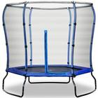 Rebo Safe Jump 7Ft Trampoline With Enclosure Safety Net Steel Frame Hexagonal Blue Colour