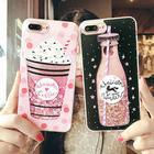 Cute Ice Cream Phone Cases for Iphone 7 Plus Case Drink Bottle Heart Glitter Star Dynamic Liquid Cover for Iphone 6 6S Case Capa