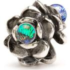 Trollbeads Three Flowers Silver Bead Charm w. Glass (TAGBE-00115)