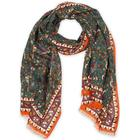 Drake's Wool/Silk Birds and Flowers Printed Scarf Green