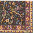 Drake's Wool/Silk Printed Birds Pocket Square Purple