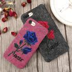 Broderet Rose n' Flower iPhone & Samsung Cover - Sort & Rød / For Samsung S8 Plus