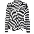 Thin Striped Button Front Cropped Waterfall Blazer - SM (8-10)
