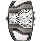 OULM Men's Casual Fashion Personality Creative Two-time Watch - White