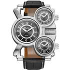 OULM Men's Casual Fashion Creative Multi-Time Zone Belt Watch - Black