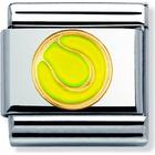 Nomination Composable Classic Link Tennis Ball Stainless Steel Gold Enamel Charm (030203 43)