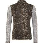 Name It Teen Leopard Patterned Mesh Turtleneck - Brown/French Roast (13170470)