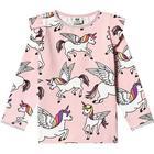 Småfolk Unicorn LS Puff Sleeves T-shirt - Silver Pink (91-0192)