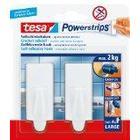 tesa UK tesa 58045 Powerstrips Large Hooks, White, Rectangle, Self Adhesive and Removable (2 Hooks)