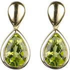 EWA 9ct Yellow Gold Peridot Pear Drop Earrings