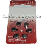 Batterikungen A312 hörapparatsbatterier - 6 st