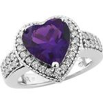 Freemans Purple Rain Platinum Plated Silver Created Amethyst & Cubic Zirconia Cocktail Ring