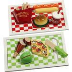 image Pizza eller hamburger på bricka (Hamburger)