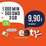 eety Smartphone Tarif TOP, Österreich, Normal/Micro/Nano/SIM/Karte, 1000 Minuten, 500 SMS, 3GB LTE um 9,90 €/Monat