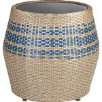John Lewis Havana Glass-Top Table / Stool, Brown / Blue