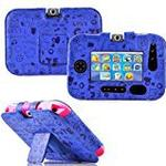 Gadget Giant ® VTech InnoTab 3S Blue Leather Wallet Folio Case Cover Stand Protector - Cute Fun Kiddy Design