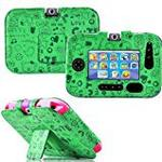 Gadget Giant ® VTech InnoTab 3S Green Leather Wallet Folio Case Cover Stand Protector - Cute Fun Kiddy Design