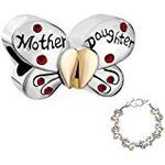 Pugster Butterfly Mother Daughter July Birthstone Red Crystal Heart Love Charms Beads fit Pandora Chamilia Bracelets