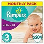 Pampers Premium Protection Active Fit Nappies, Monthly Saving Pack - Size 3, 204 Nappies