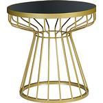 John Lewis Havana Glass-Top Side Table, Brass / Navy